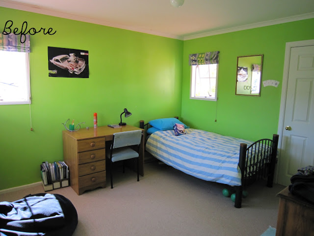 Tween bedroom before and after - fluro green to neutral by Amy MacLeod