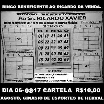 BINGO BENEFICENTE AO RICARDO DA   VENDA.
