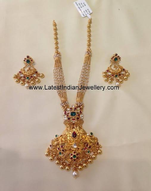 pearls chain kundan haram