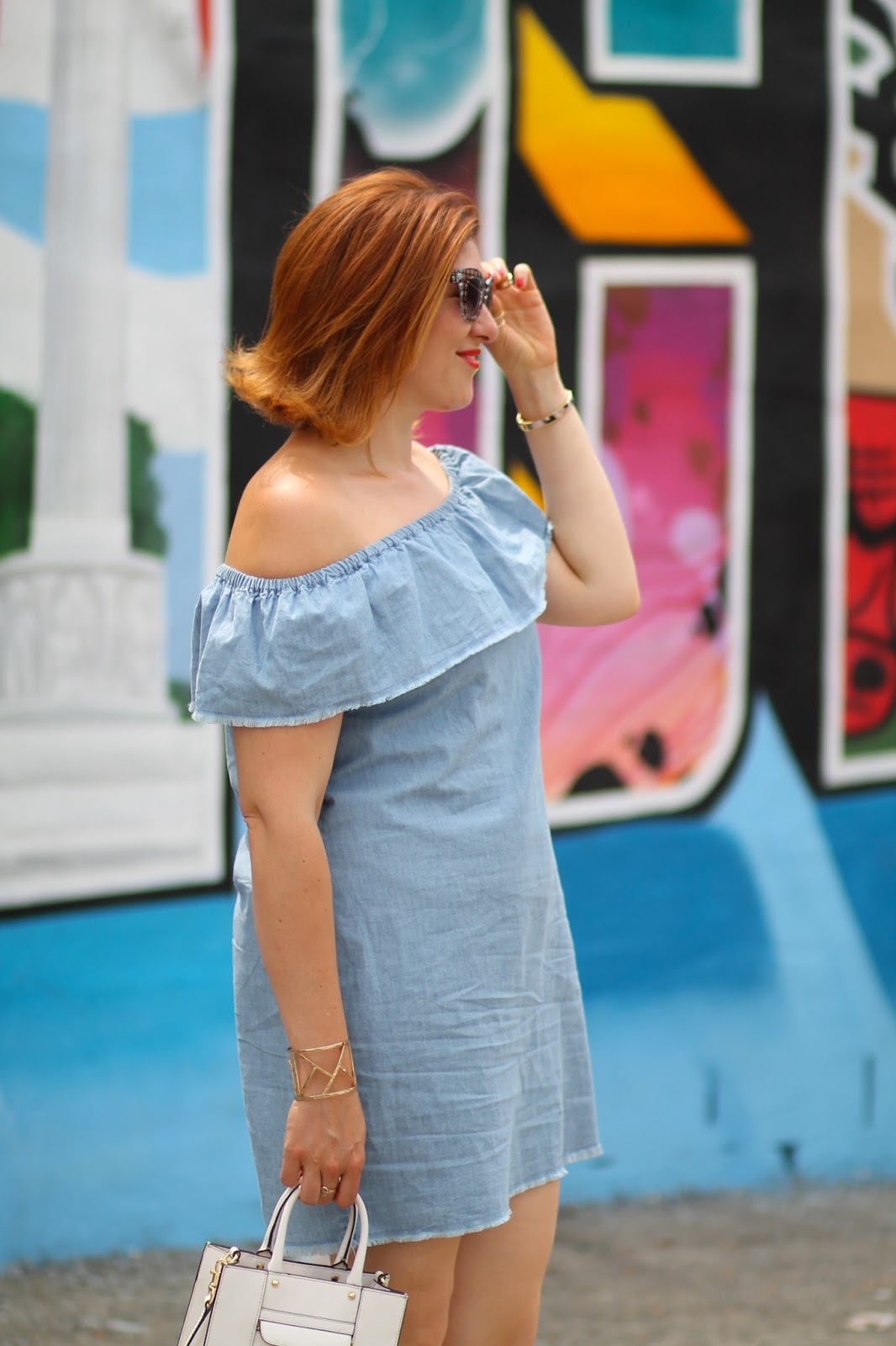 zara, chambray, dress
