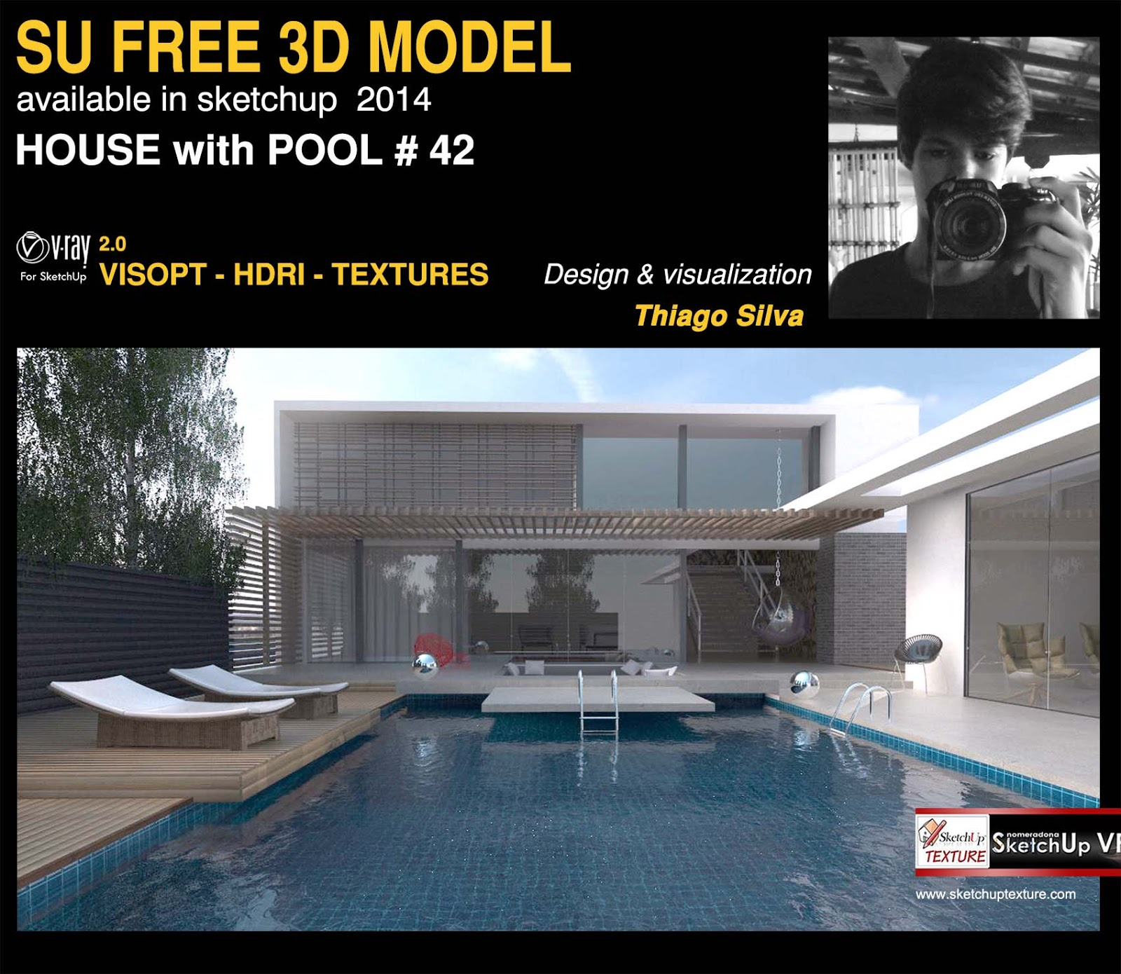 Sketchup texture free sketchup 3d model house with pool for 3d pool design online free