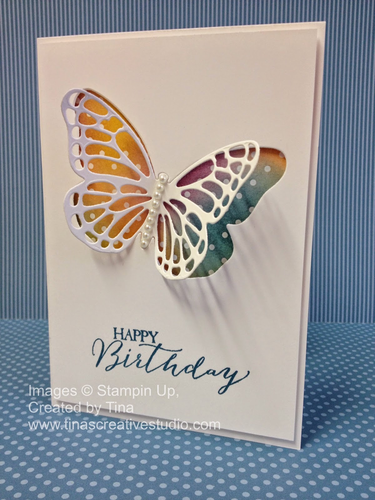 Stained Glass Butterflies Thinlits Dies birthday card www.tinascreativestudio.com