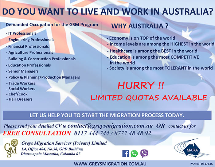 Greys Migration Services - Sri Lanka. 011 7 444744