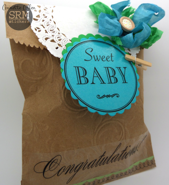 SRM Stickers - Sweet Baby Gift Bag by Annette - #srmstickers #kraft #bag #doilies #stickers #embossed