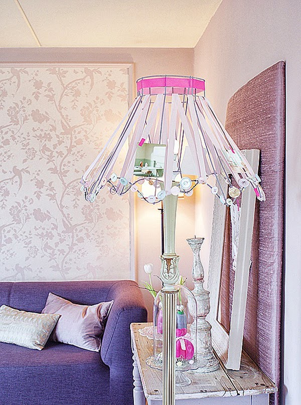 Pink and Lilac Shabby Chic Ribbon Lamp Shade DIY