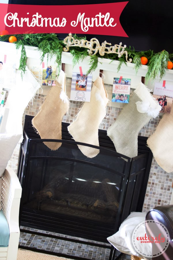 Christmas mantle and burlap stockings. Love this! #christmas #stockings #christmasmantle