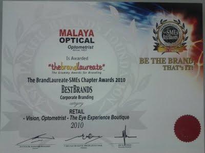 Brandlaureate 2010 for Malaya Optical