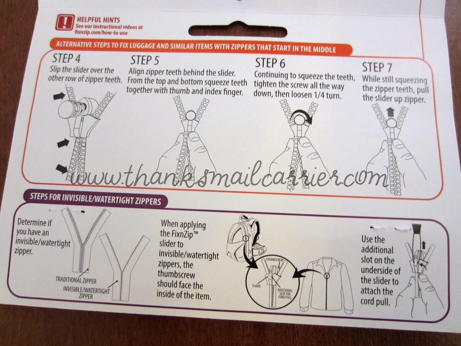 broken zipper instructions