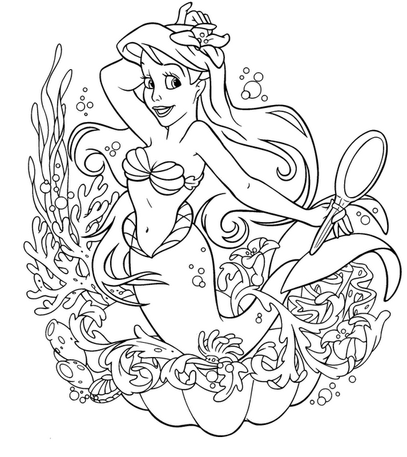 Coloring Pages Of Ariel In The Sea : Ariel the little mermaid coloring pages
