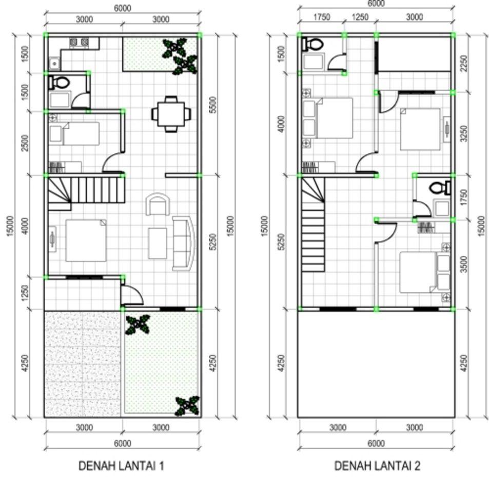 model denah rumah minimalis 2 lantai tipe 100 menarik
