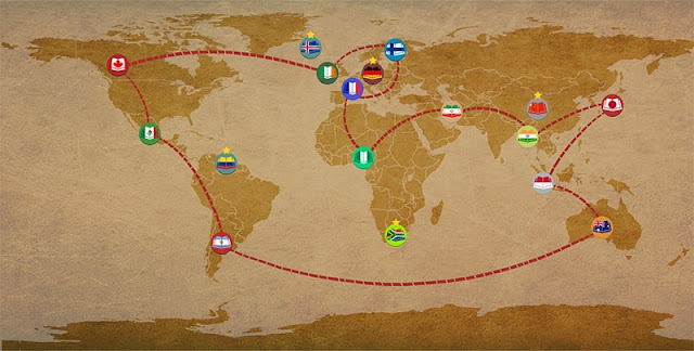 Na imagem: Um campa do mundo com aparência antiga e um linha formando um trajeto que passa pelos diversos países do roteiro, em cada um deles um círculo com um livrinho na cor do país