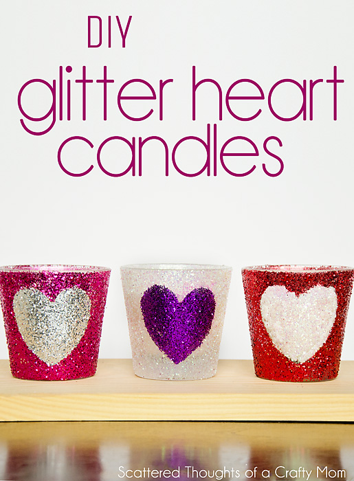 Simple DIY Glitter Candles - See how to use painters tape to add different shapes with glitter! #glitter #crafts