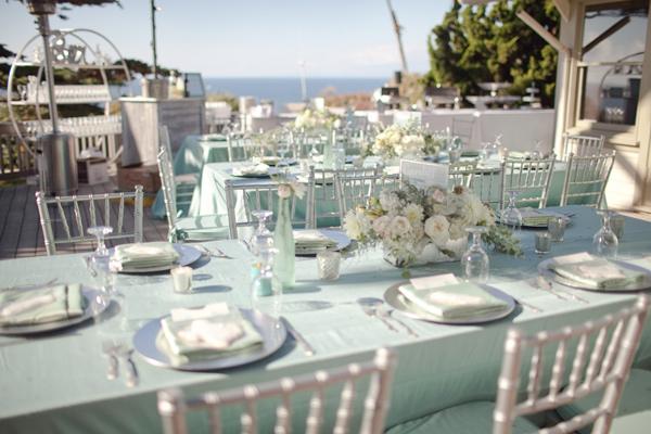 mantel verde agua para boda