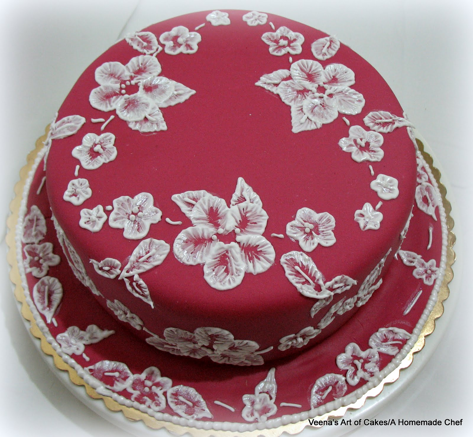 Veena s Art of Cakes: Brush Embroidery Cake Lace Design