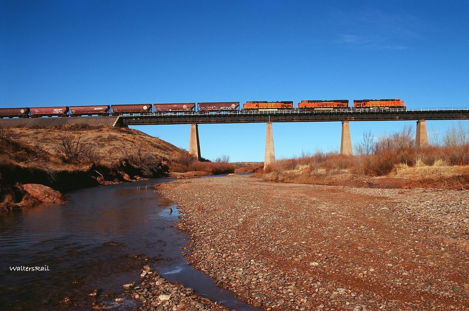 Eastbound Grainer as Seen From the Riverside & WaltersRail : Pecos River Bridge -- Fort Sumner New Mexico azcodes.com