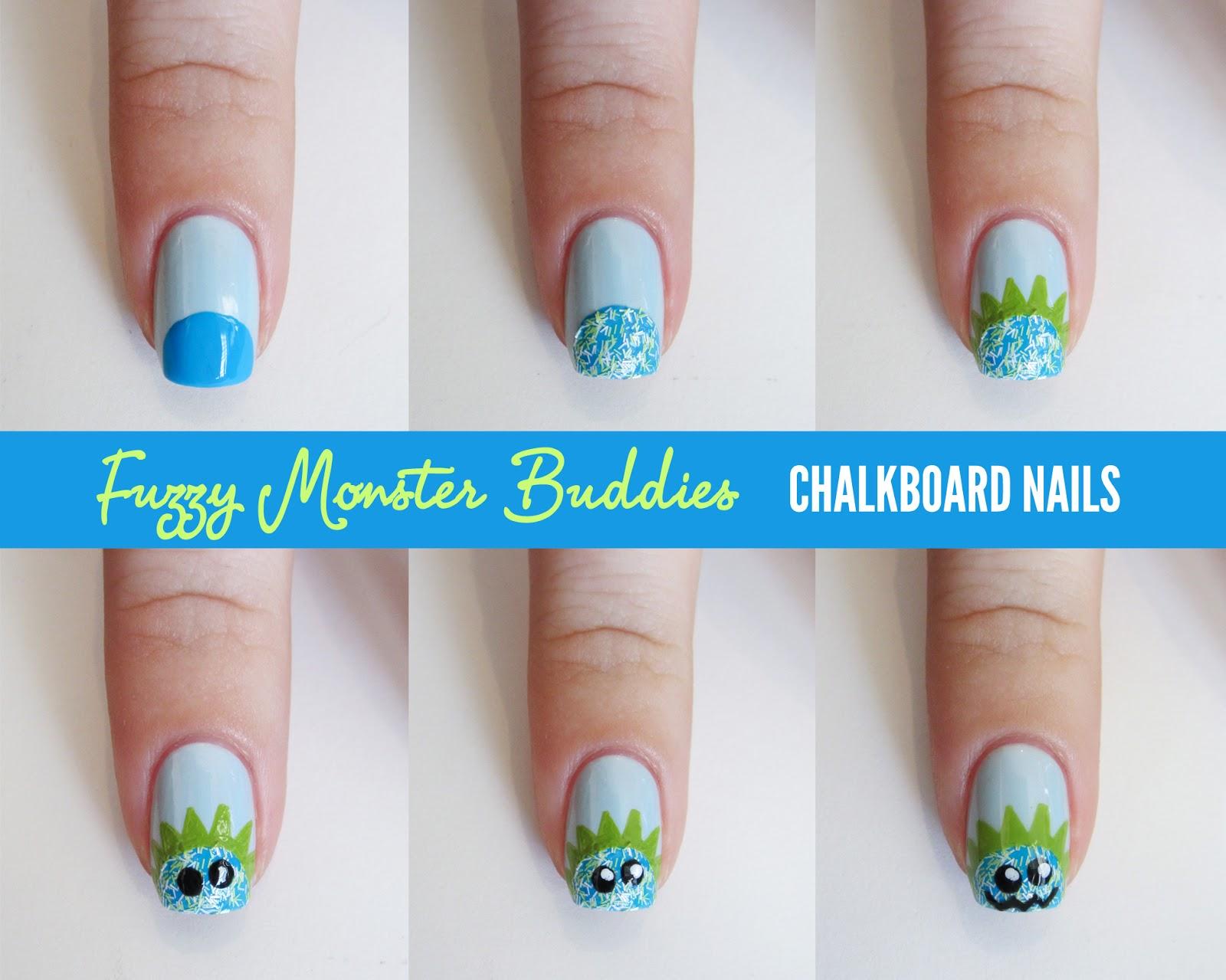 Tutorial Sally Hansen Fuzzy Monster Buddies Chalkboard Nails