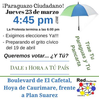 La @RedOrgBaruta invita al Paraguazo por el Derecho a Votar y Elegir, #23M, #Baruta El Cafetal