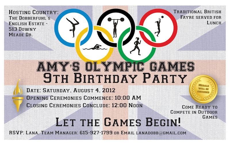 DobberBlog Amys Th Birthday Party Olympics - Olympic party invitation template