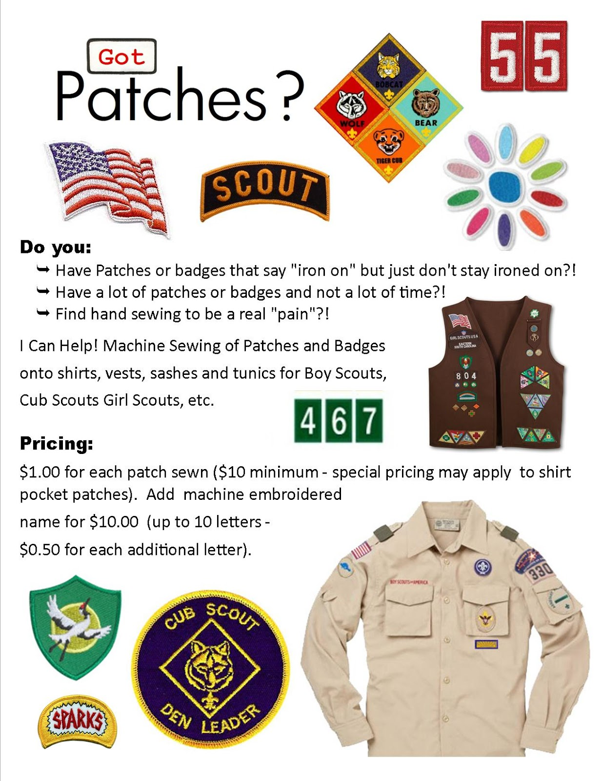 Sewing cub scout patches on uniform