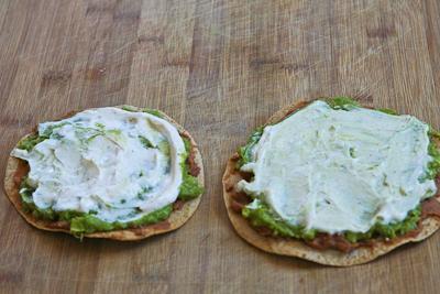 Vegetarian Seven-Layer Tostadas found on KalynsKitchen