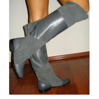 cizme ieftine dama online cu talpa joasa gri din piele naturala