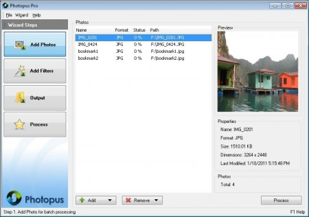 Photopus software for photo conversion, watermarking, size adjustment, file rename, transform, touch-up, apply effects