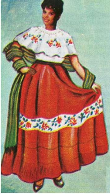 El traje típico la mujer usa un vestido deshilado con holanes y bordado con motivos alusivos a la feria de San Marcos y un manto de la misma tela en la