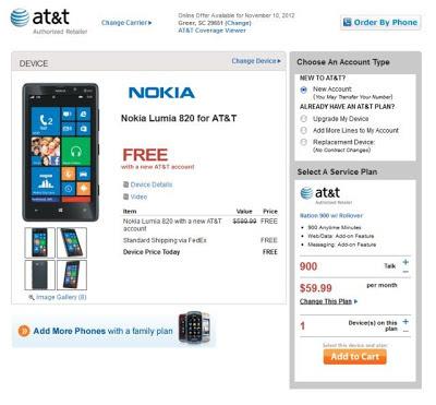 Free AT&T Nokia Lumia 820