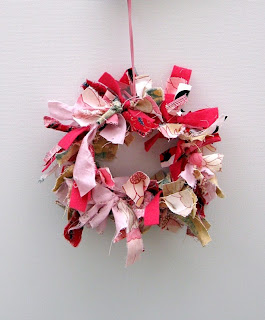 Finished pink rag wreath pink