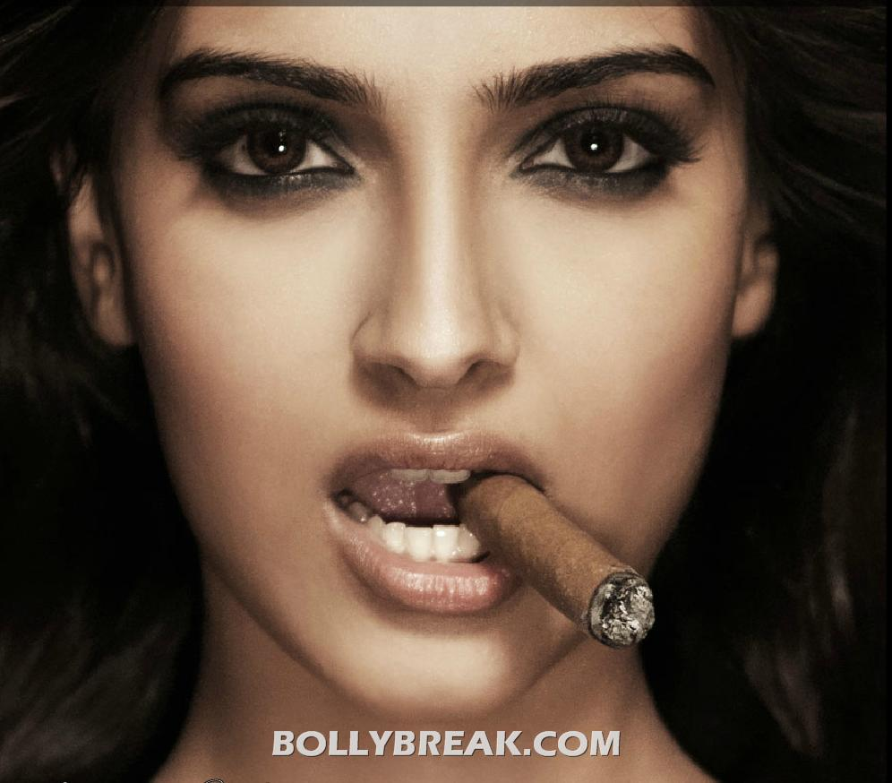 Sonam Kapoor Cigar Smoking Photoshoot Pics