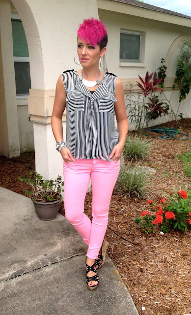 studs, stripes, & hot pink