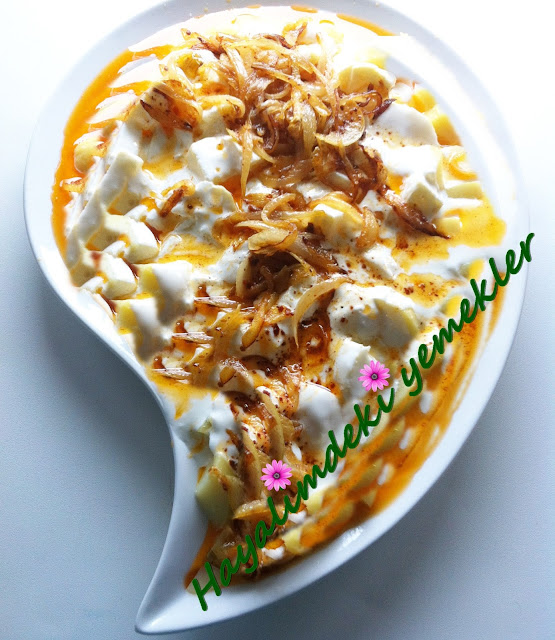 Tereyagli Soganli Patates Salatasi tarifi,yogurtlu salata tarifleri