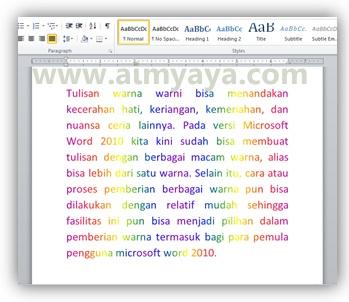 Gambar: Contoh tulisan dengan warna warni pelangi di Microsoft Word 2010