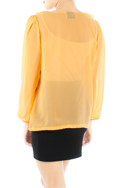 Yellow Gold Carnation Ruffled Long Sleeve Blouse with Pintuck Panels