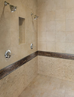 bathroom tile combinations with large and small tiles
