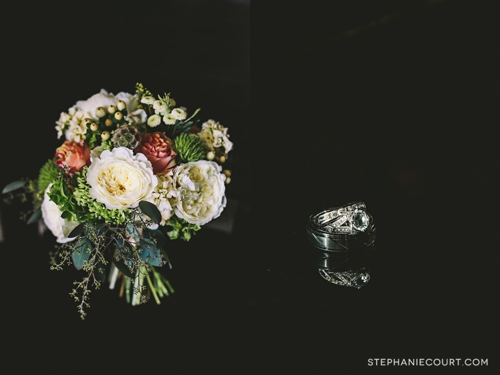 """timeless wedding ring and bouquet"""