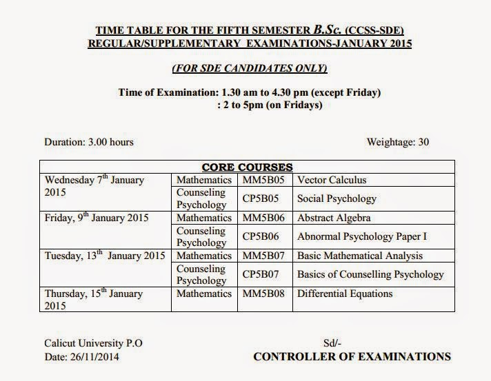Calicut university time table b sc january 2018 for Rdvv 5th sem time table