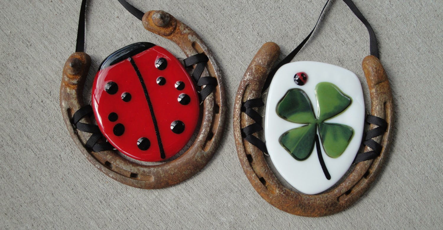 lucky horseshoe bug ladybug welcome door plaque equestrian riding fused stained glass hanging art flutterbybutterfly flutterbyfoto home decor upcycle recycle