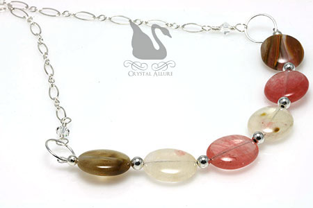 Golden Strawberry Quartz Gemstone Bead Necklace (N096)