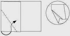 Bước 4: Gấp cạnh giấy vào trong giữa hai lớp giấy.