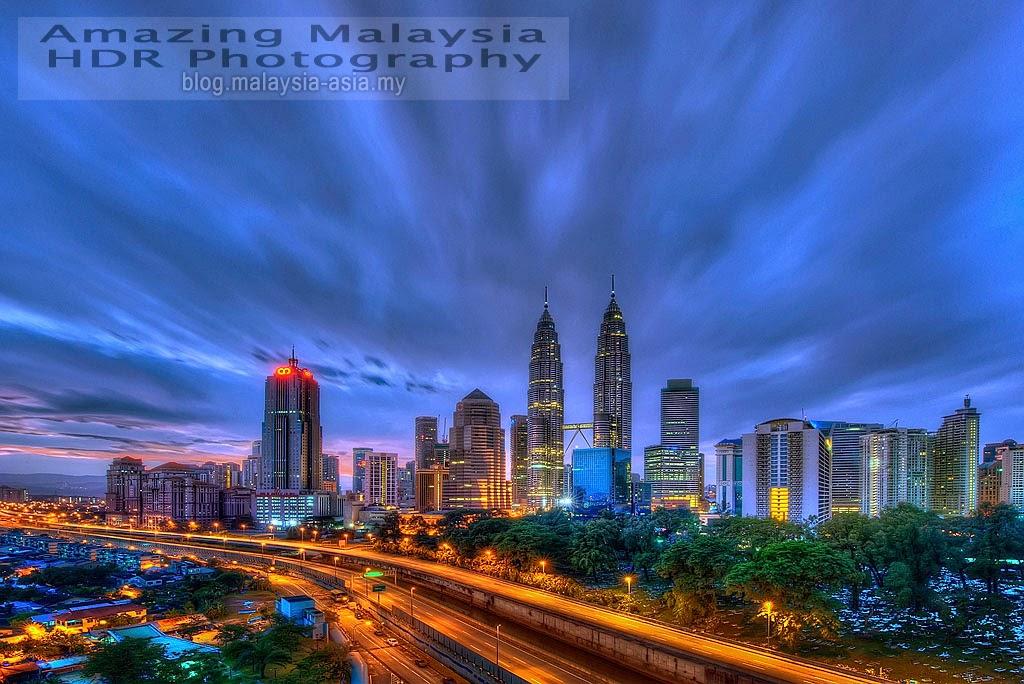 Kuala Lumpur Sunset Skyline HDR Photography