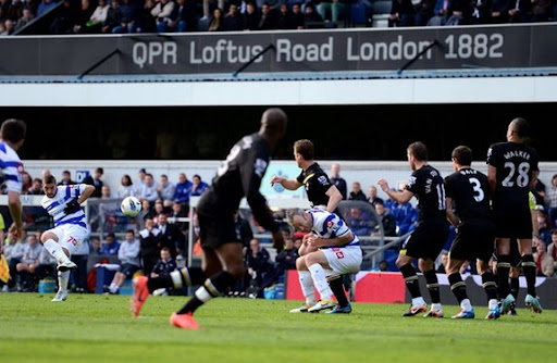 QPR midfielder Adel Taarabt scores from a free-kick against Tottenham