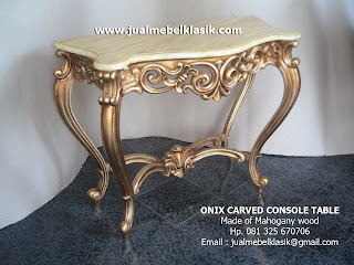 Supplier Indonesia Classic Furniture Console table carved mahogany console table finished in gold leaf painted
