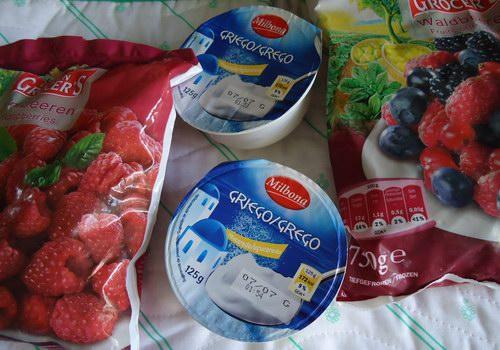 Los ingredientes para el helado de yogur