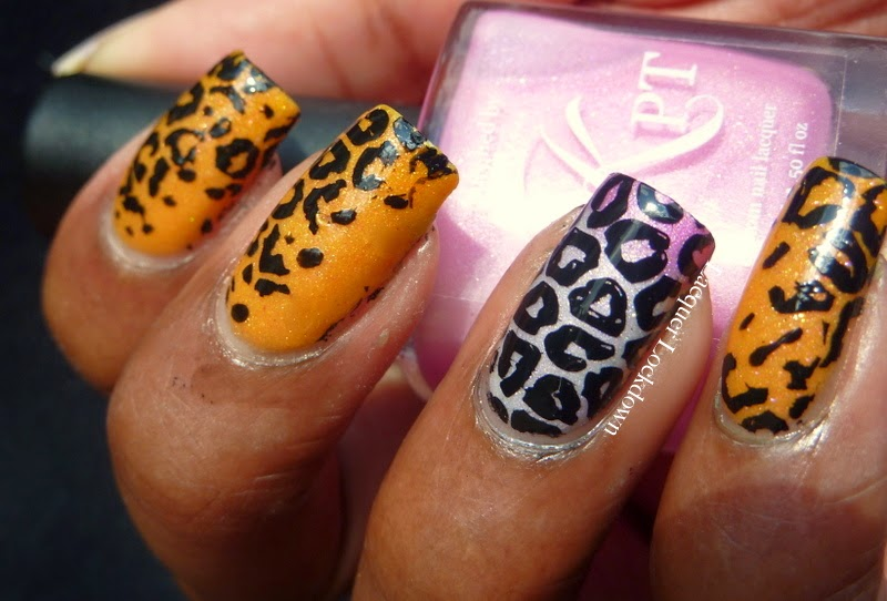 Lacquer Lockdown - Polished by KPT, Polished by KPT Let's Get Peachy!, Polished by KPT Sunday Rose, MoYou London, Pro Collection 04 XL, leopard print nails, jagaur print nails, leopard nail art, animal print nails, animal print inspired nail art, diy nail art, diy nails, cute nail art ideas, cute nails , stamping, nail art, thrermal polish