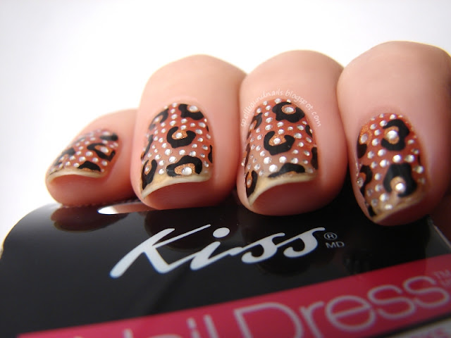 nails nailart nail art polish mani manicure Spellbound Kiss Nail Dress Princess stickers leopard print bling rhinestones Influenster Holiday VoxBox review image heavy picture swatch test