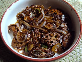 lotus stem stir fried in a sweet n sour sauce