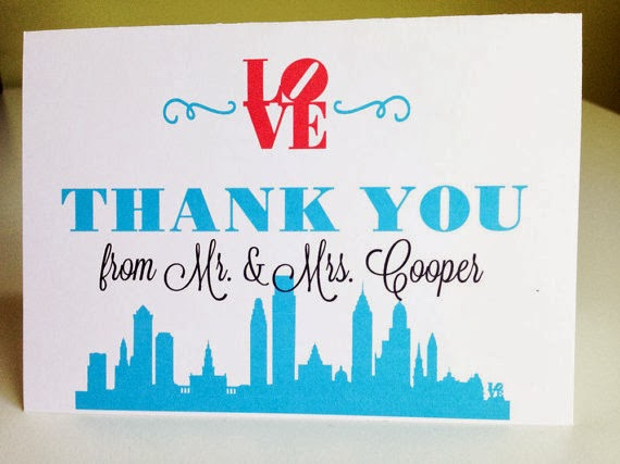 Philadelphia Wedding Thank You Cards by Designed By M.E. Stationery