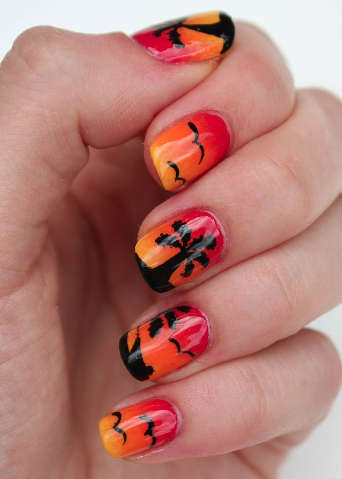 Fundamentally Flawless: Sunset Nail Art with Palm Trees and Birds