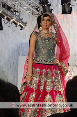 hot pink and green bridal lengha by Ekta Solanki
